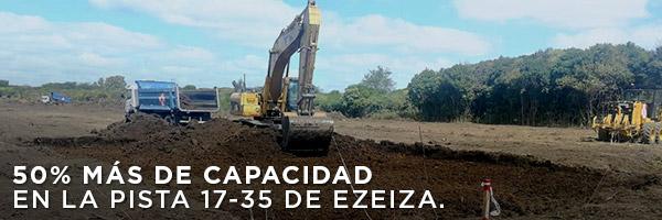 50% más de capacidad en la pista 17-35 de Ezeiza.
