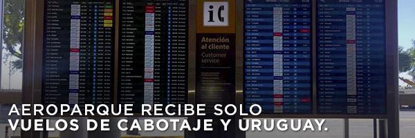 Aeroparque recibe solo vuelos de cabotaje y Uruguay.